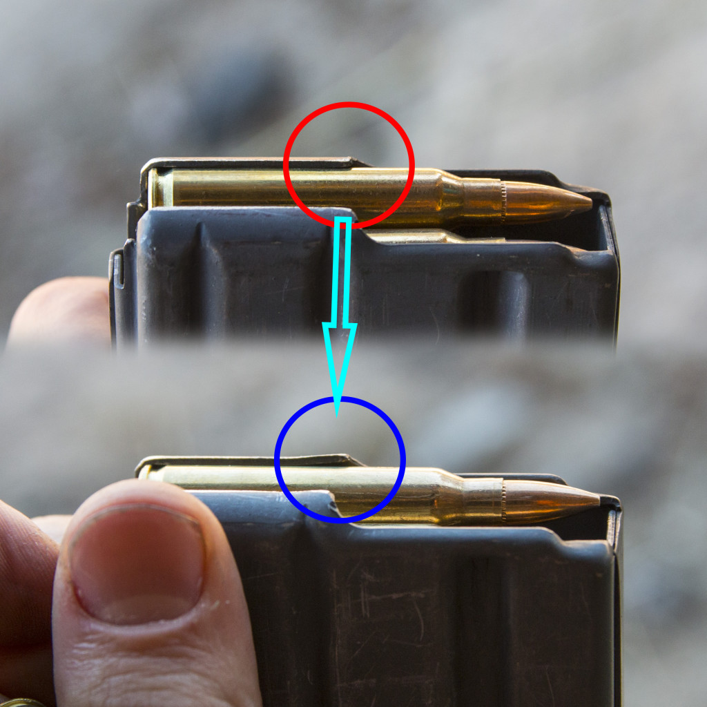 top: un-used mag, bottom: fixed mag